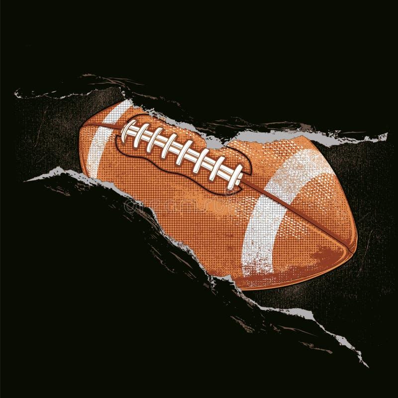 Ball des amerikanischen Fußballs hinter einem Riss lizenzfreie abbildung