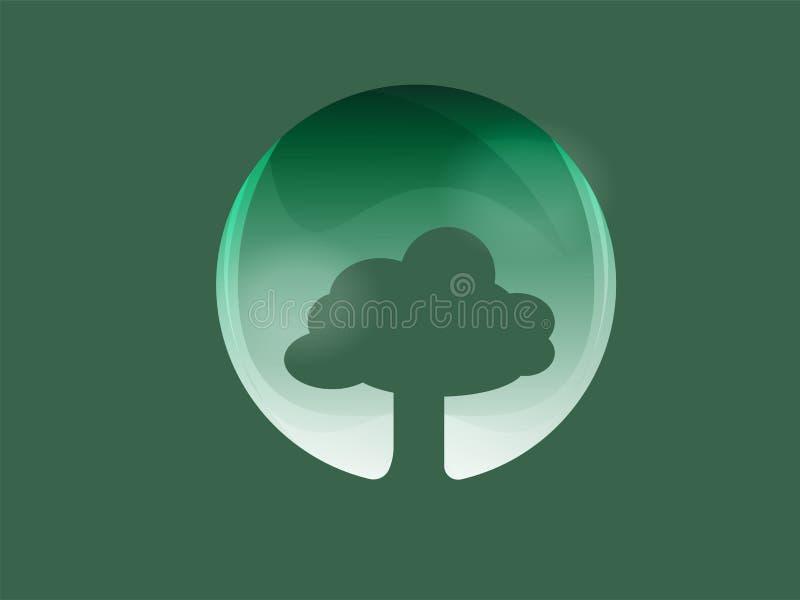 Ball des Baumlogos und -ikone lizenzfreie abbildung