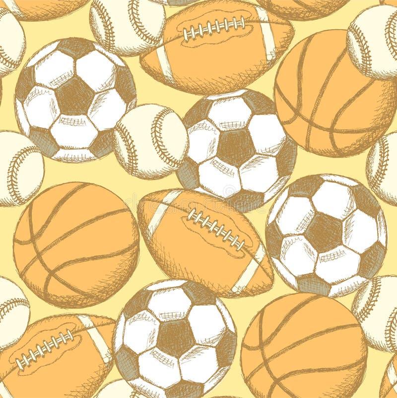 Ball des Fußballs, des amerikanischen Fußballs, des Baseballs und des Basketballs stock abbildung