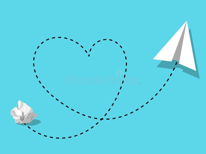 Ball des zerknitterten Papiers umgewandelt mit Liebe in der Innovation oder in kreativem dea-Konzept lizenzfreie abbildung