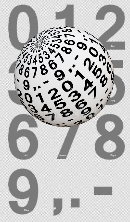 Ball with digits from zero to nine. White ball with digits from zero to nine, decimal, point and dash in front of a list royalty free stock photo
