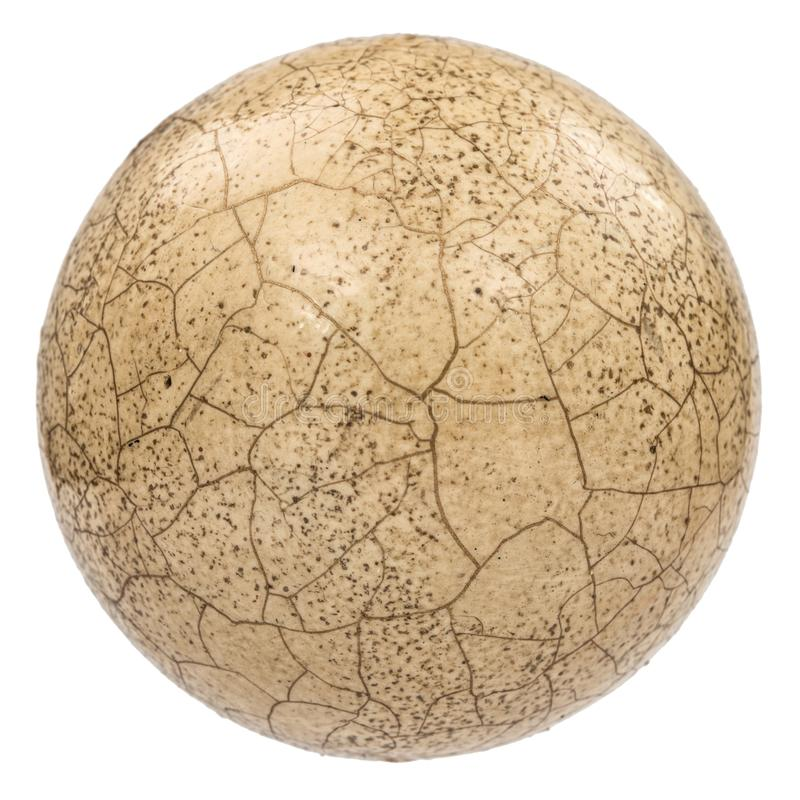 Ball with the effect of craquelure, the effect of cracked surface, isolated on white background royalty free stock photo