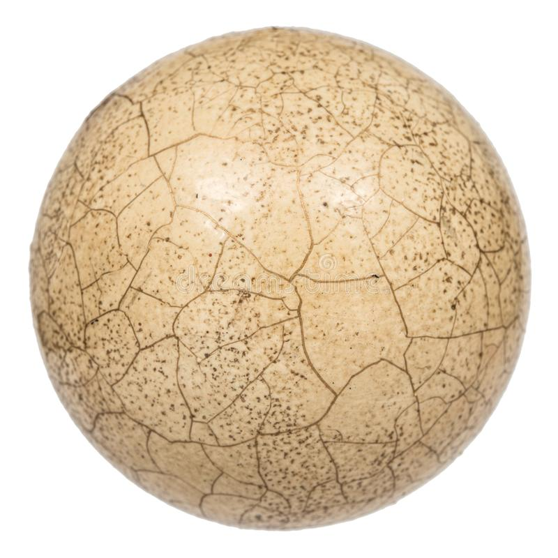 Ball with the effect of craquelure, the effect of cracked surface, isolated on white background royalty free stock image