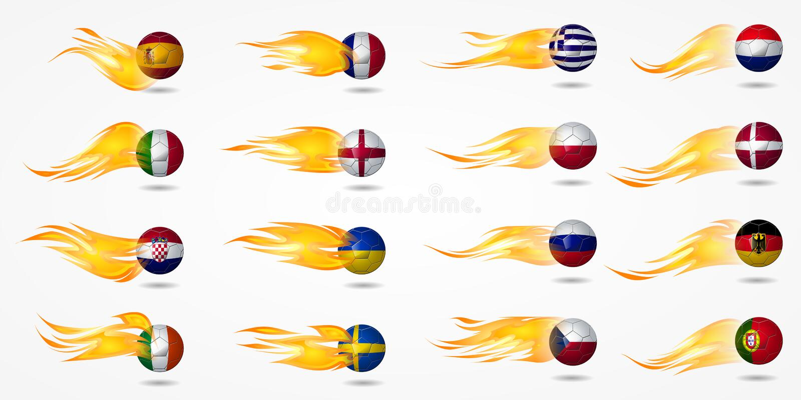 Download Ball Europe Soccer With Fire Burning At Tail Stock Illustration - Image: 25360284