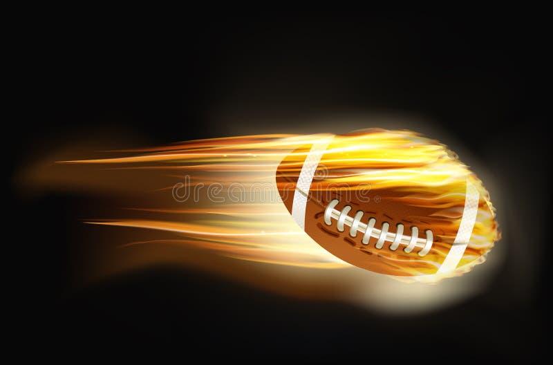 Ball für amerikanischen Fußball auf Feuer lizenzfreie stockfotografie