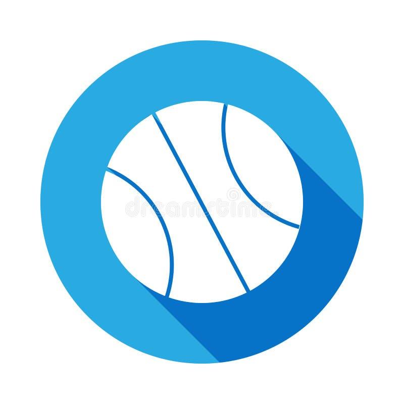 Ball für Basketballikone mit langem Schatten Element der Sportikone für bewegliche Konzept und Netz apps Lokalisierter Ball für B stock abbildung
