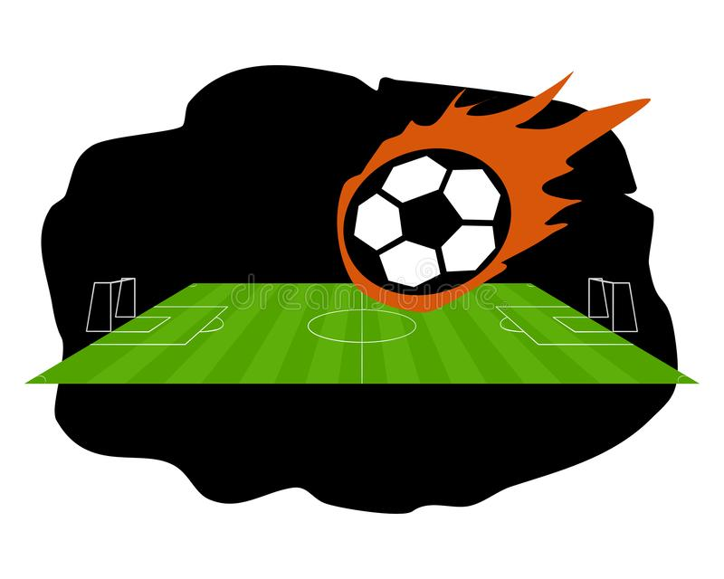 Fire ball and soccer field royalty free stock photography