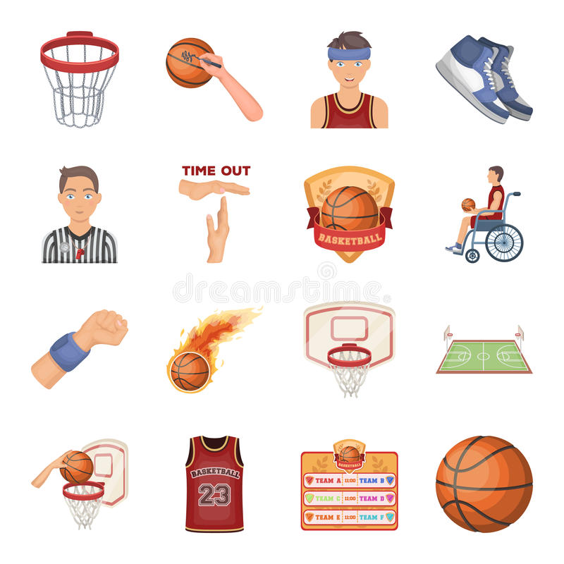 Ball, game, sport, fitness and other icons of basketball. Basketball set collection icons in cartoon style vector symbol vector illustration