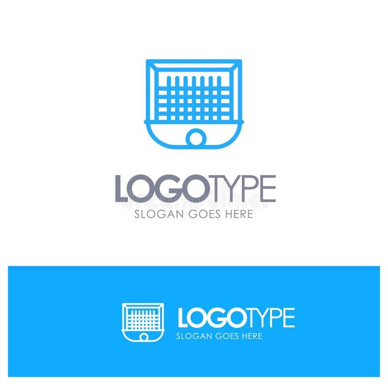 Ball, Gate, Goalpost, Net, Soccer Blue outLine Logo with place for tagline royalty free illustration