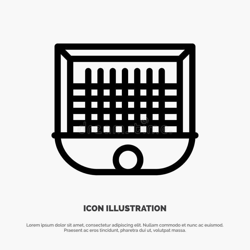 Ball, Gate, Goalpost, Net, Soccer Line Icon Vector vector illustration