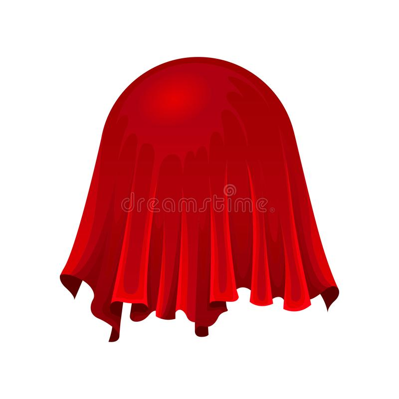 Ball or globe under red silk cloth on white background. vector illustration