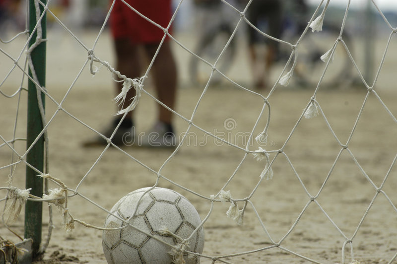 Ball in goal royalty free stock images