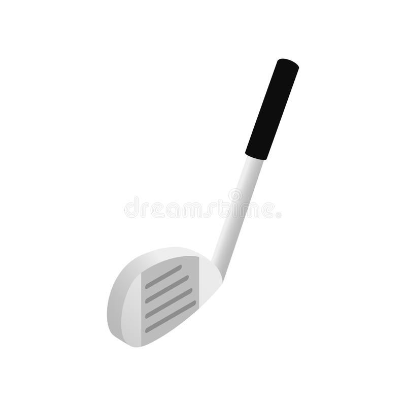 Ball and golf club isometric 3d icon stock illustration