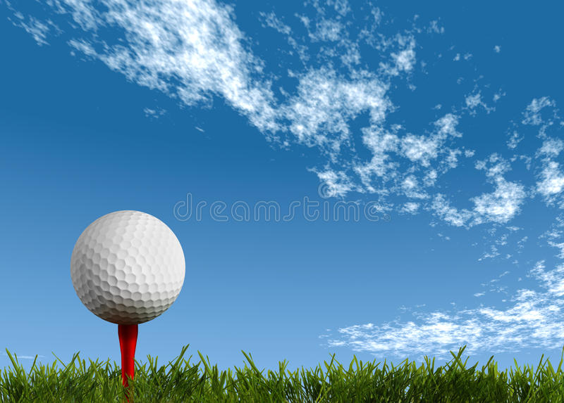 Ball for a golf on a green lawn stock illustration