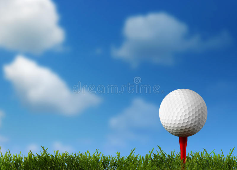 Ball for a golf on a green lawn. 3d rendering vector illustration