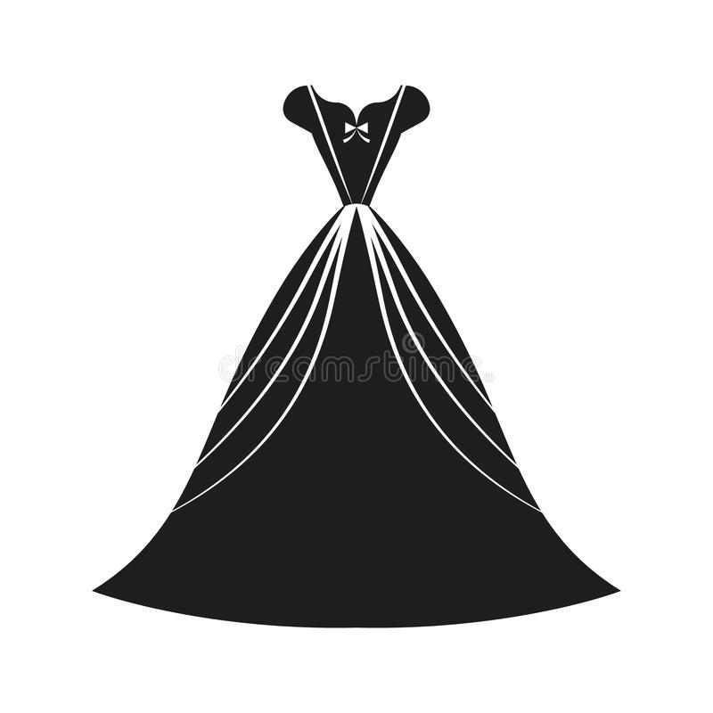 Ball gown black. Ball gown female black long vector illustration