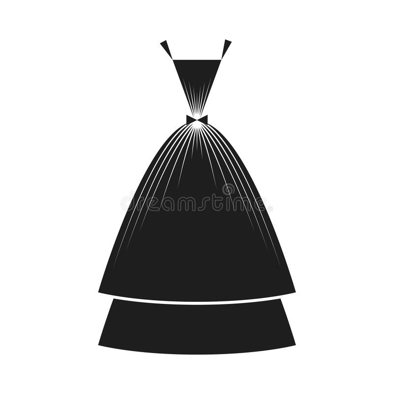 Ball gown black. Ball gown female black long royalty free illustration