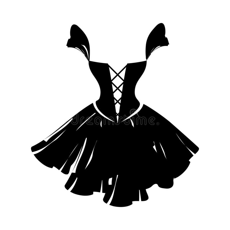 Ball gown black. Ball gown little black on a white background stock illustration