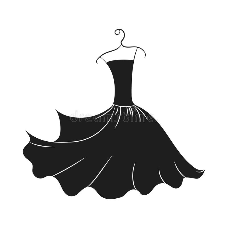 Ball gown hand drawing on a hanger. Ball gown hand drawing female black long on a hanger on a white background stock illustration