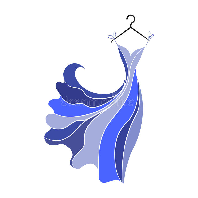 Ball gown hand drawing on a hanger. Ball gown hand drawing female colored long on a hanger on a white background royalty free illustration