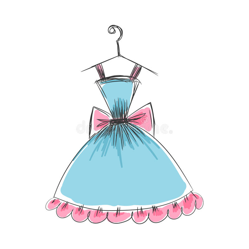 Ball gown hand drawing on a hanger. Ball gown hand drawing sketch female blue short on a hanger on a white background stock illustration