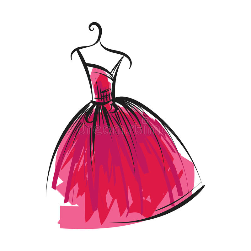 Ball gown hand drawing on a hanger. Ball gown hand drawing sketch female pink on a hanger on a white background stock illustration