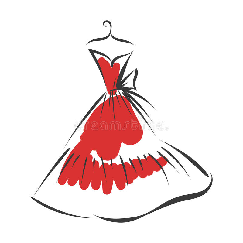 Ball gown hand drawing on a hanger. Ball gown hand drawing sketch female red on a hanger on a white background royalty free illustration