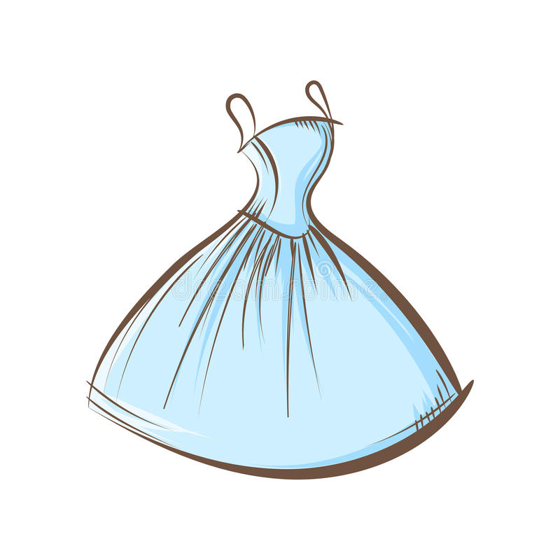 Ball gown hand drawing. Sketch female blue on a white background vector illustration