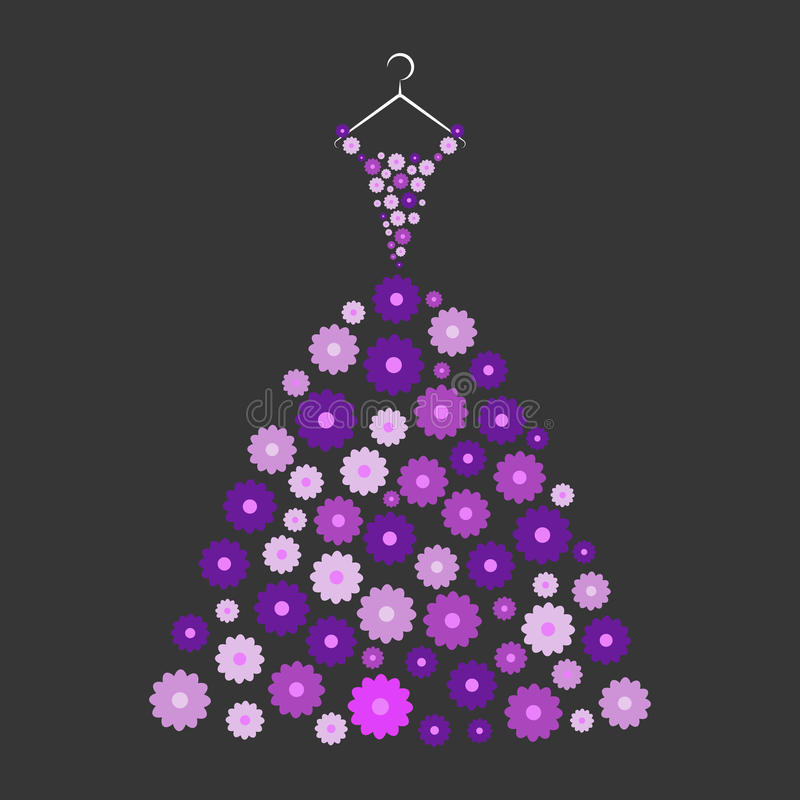 Ball gown purple flowers. On a hanger on the black background royalty free illustration