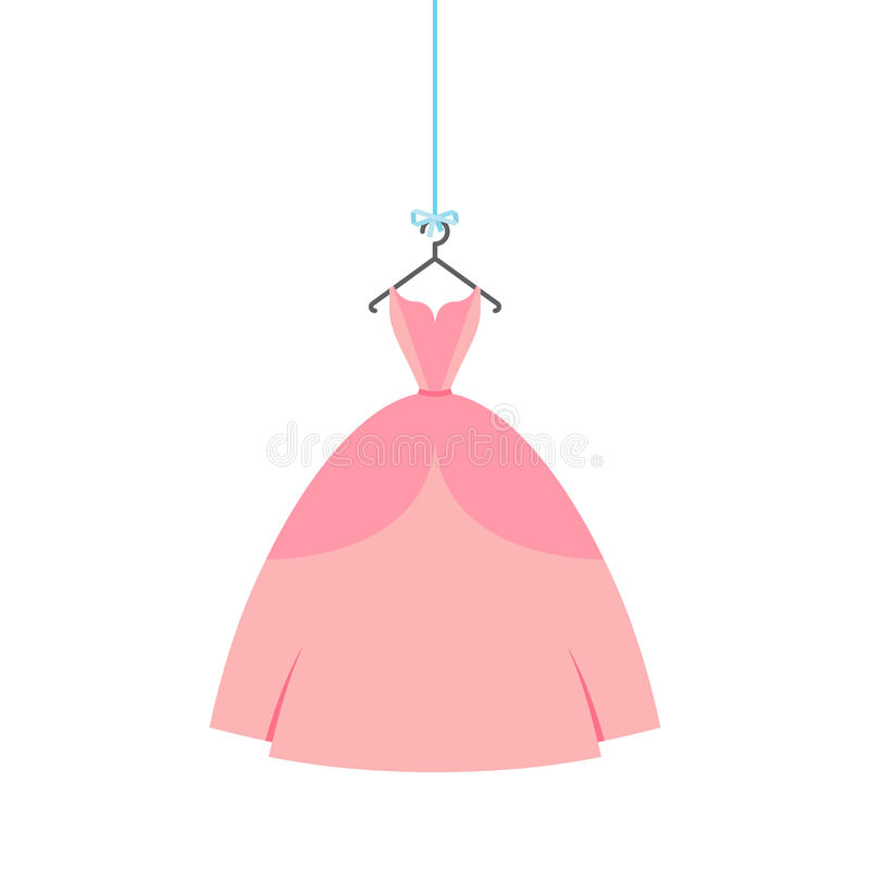 Ball gown rose. Ball gown female rose long on a hanger royalty free illustration
