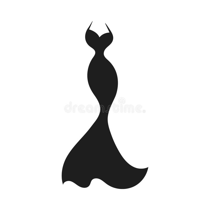Ball gown silhouette. Ball gown long black silhouette on a white background royalty free illustration