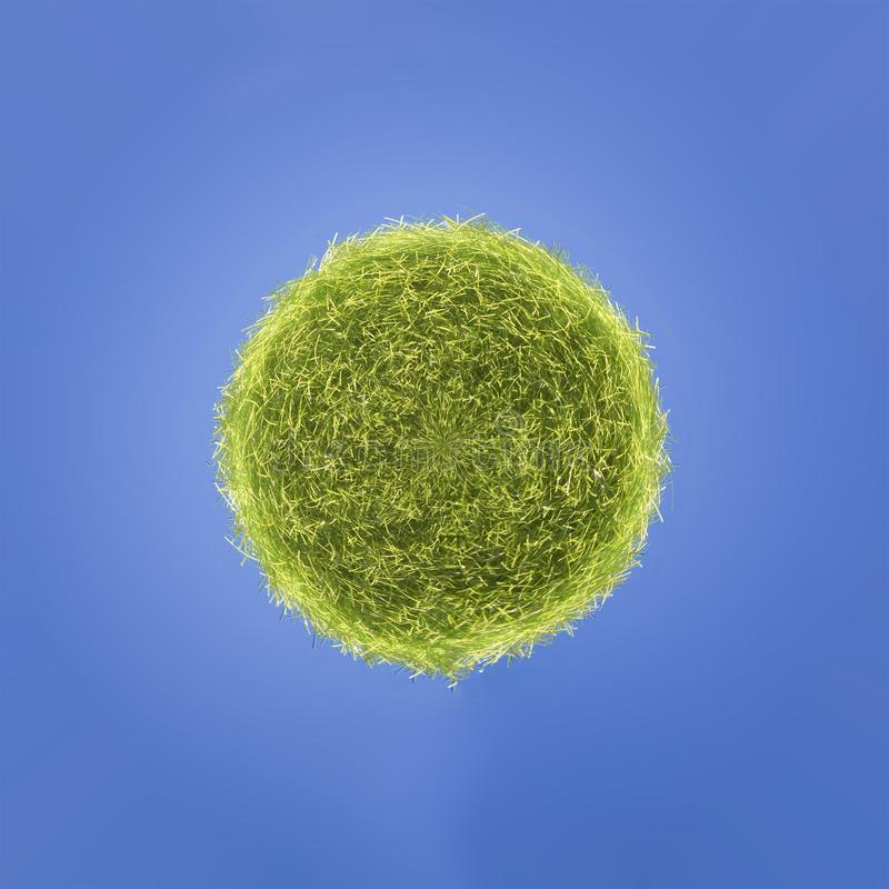 A ball of grass on a blue background. royalty free stock photo