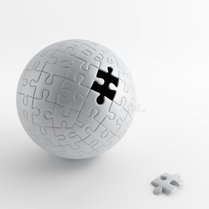 Ball of gray puzzle royalty free illustration