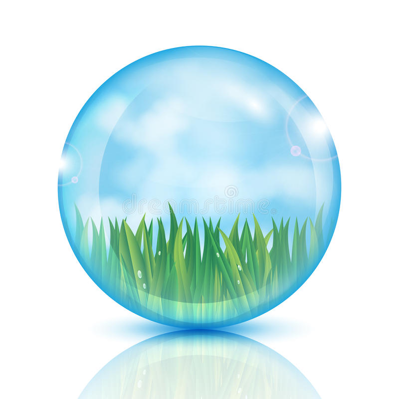 Ball with green grass and blue sky stock illustration