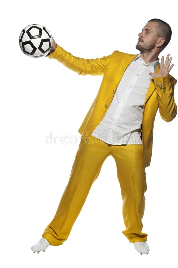 Ball in hand player. Isolated on the withe background stock photography