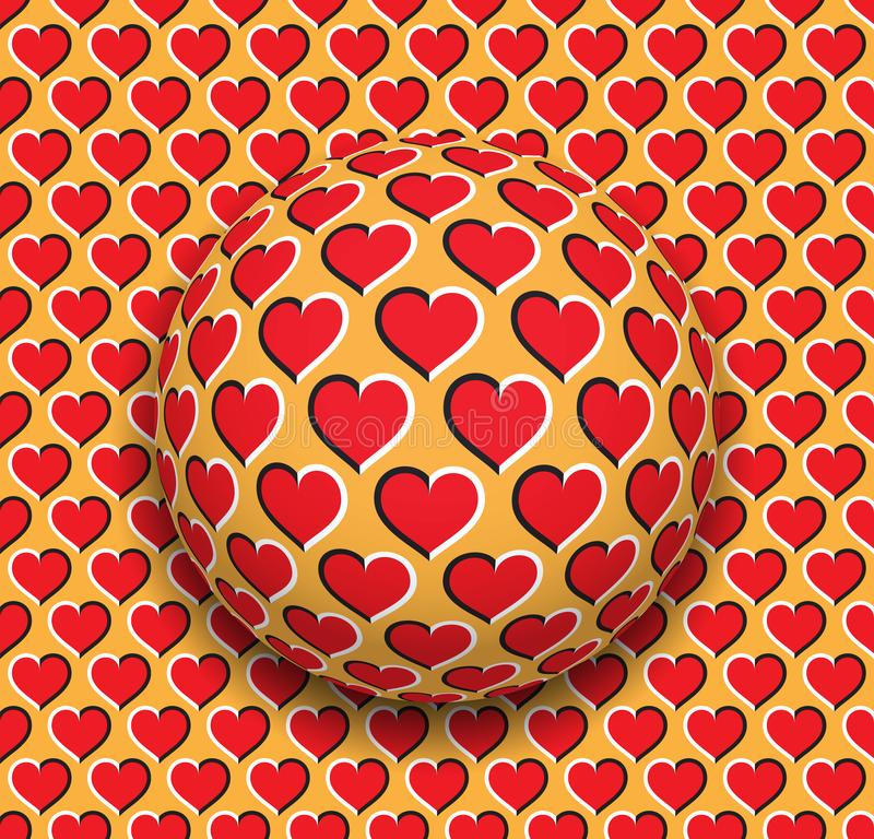 Ball with a hearts pattern rolling along the red hearts surface. Abstract vector optical illusion illustration. Romantic background and tile of seamless vector illustration