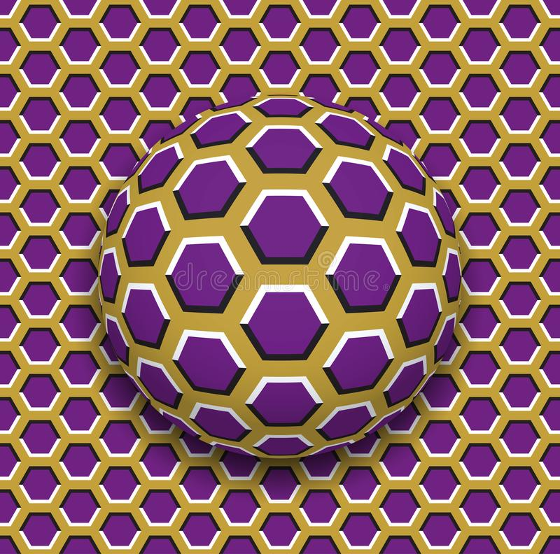 Ball with a hexagons pattern rolling along the hexagons surface. Abstract vector optical illusion illustration. Motley background and tile of seamless stock illustration