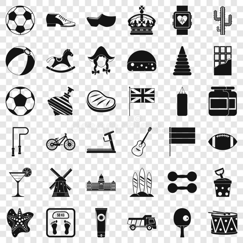 Ball icons set, simple style stock illustration