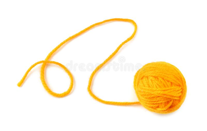 Ball of knitting yarn on white background stock photo