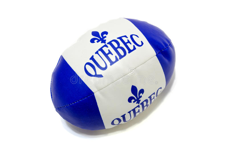 Ball with logo. Picture of white and blue ball with fleur de lis illustration - logo quebec flag. Fleur de Lys stock photo