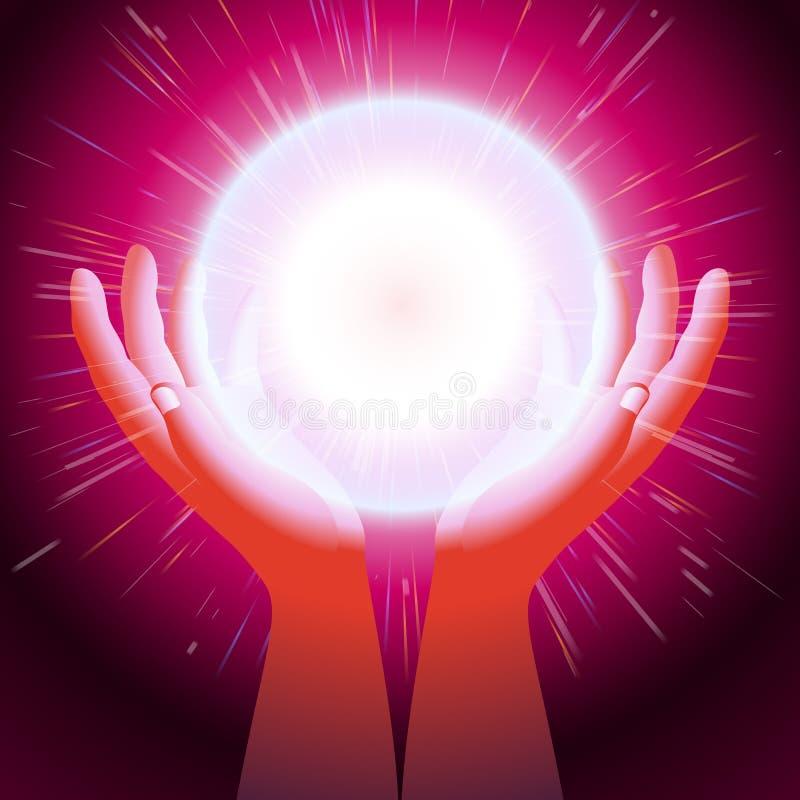 Ball-magischer Energie-Handpalmen-Blitzlicht-Hintergrund stock abbildung