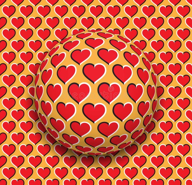Ball mit Herzen kopieren Rollen entlang der roten Herzoberfläche Abstrakte Illustration der Vektoroptischen täuschung vektor abbildung