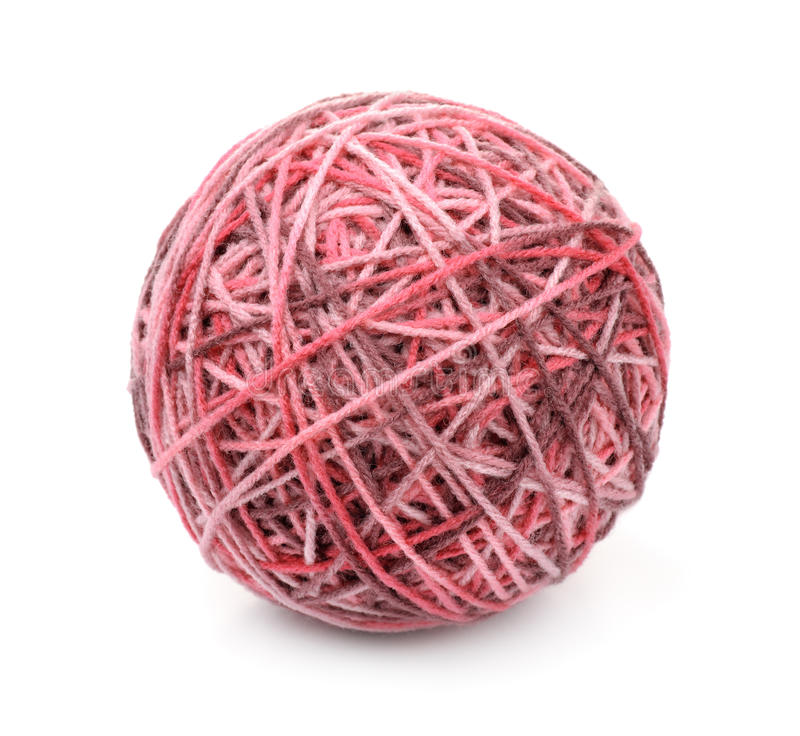 Ball of multi color acrylic hand knitting yarn stock image