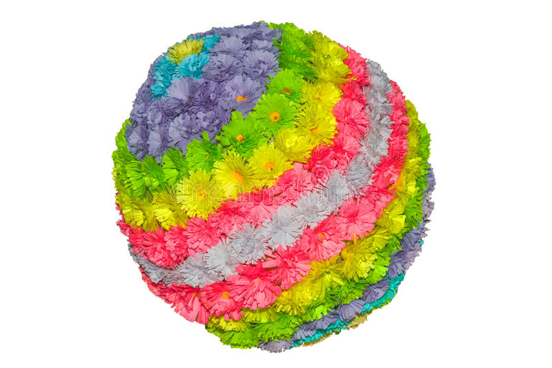 A ball of multi-colored flowers made of paper in the technique quilling stock photos