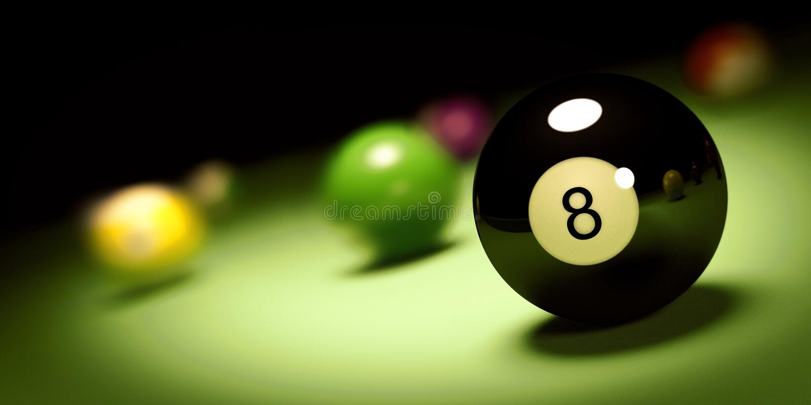 Ball n. 8 on a pool table 3d render. 3d render of a ball n. 8 on a pool table stock illustration