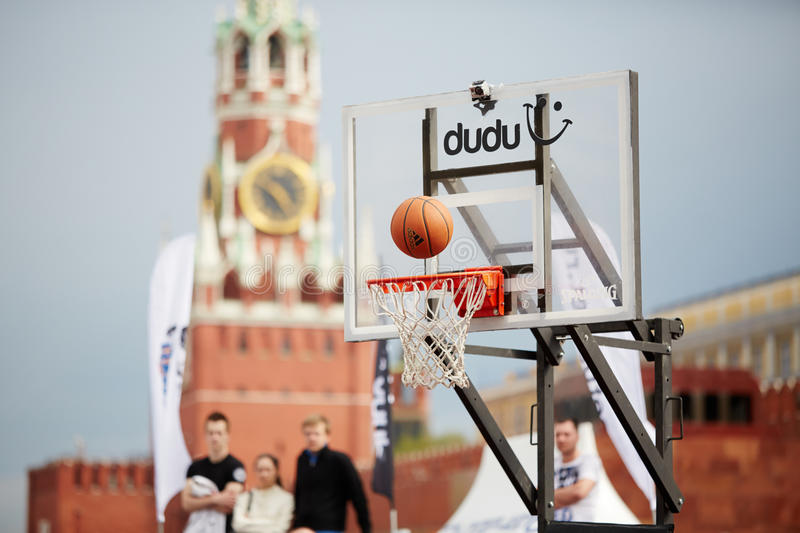 Ball Over Basket In Game During Dudu Streetbasket Fest Editorial Stock Photo