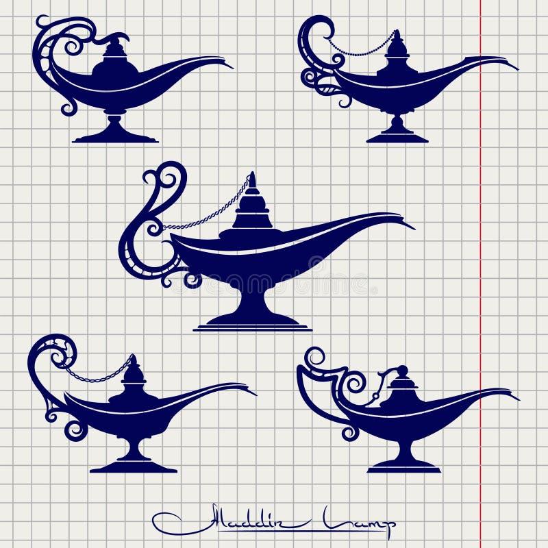 Ball pen drawing aladdin lamp. Ball pen imitation drawing aladdin lamp vector set on notebook page vector illustration