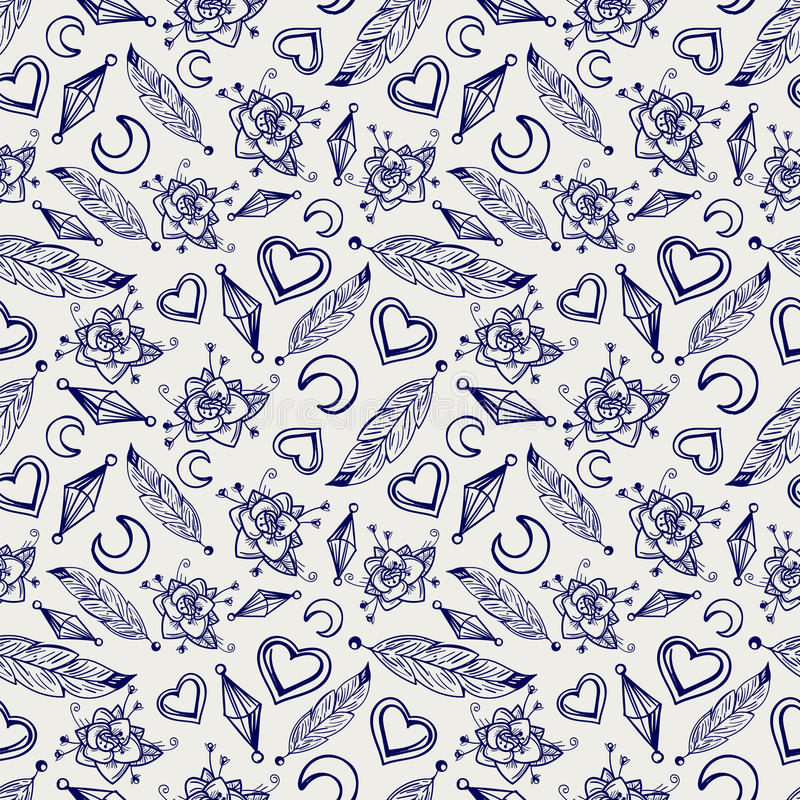 Ball pen seamless pattern with feathers stock illustration