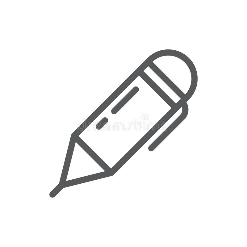 Ball pen vector illustration editable icon - outline pixel perfect symbol of office supplies instrument. Ball pen vector illustration editable icon - outline stock illustration