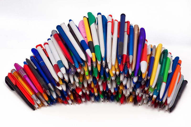 Ball pens. Objects over white royalty free stock image